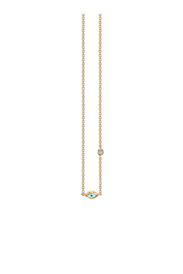 Sydney Evan N27328 Mini Evil Eye Diamond Bezel Necklace - Yellow Gold