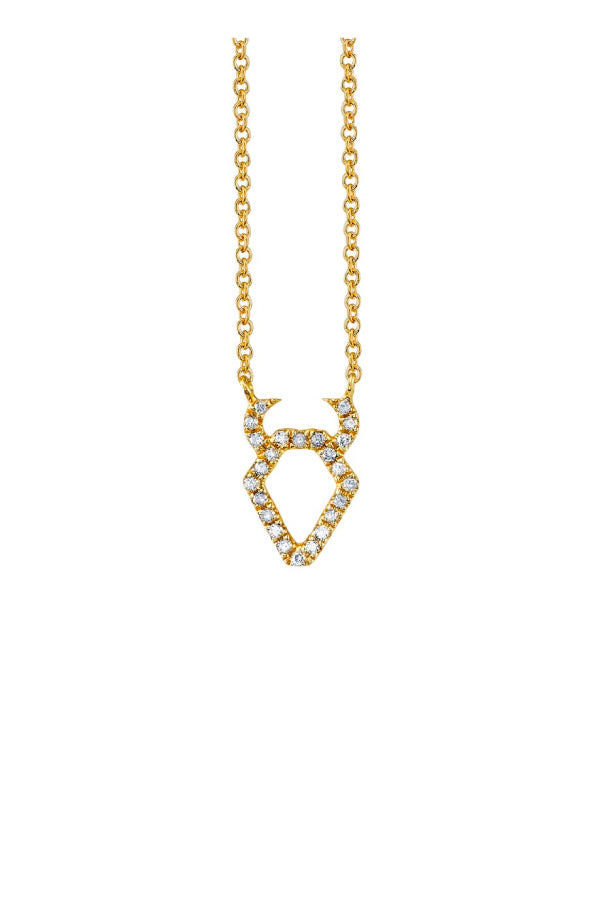Sydney Evan N34382 Pave Taurus Charm Necklace - Yellow Gold