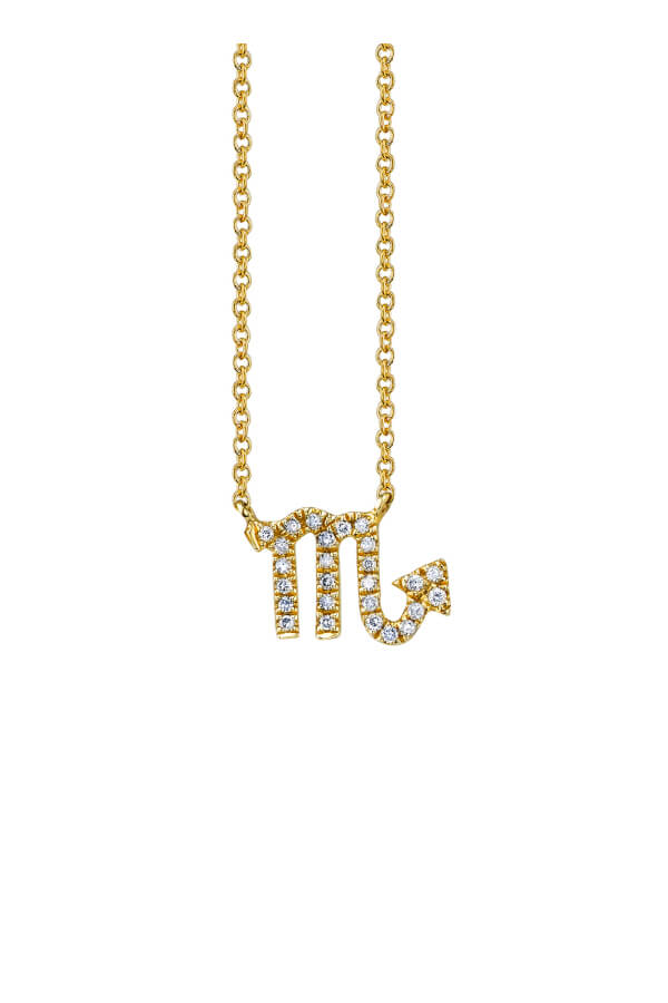 Sydney Evan N34388 Pave Scorpio Charm Necklace - Yellow Gold