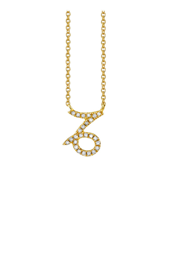 Sydney Evan N34390 Pave Capricorn Charm Necklace - Yellow Gold