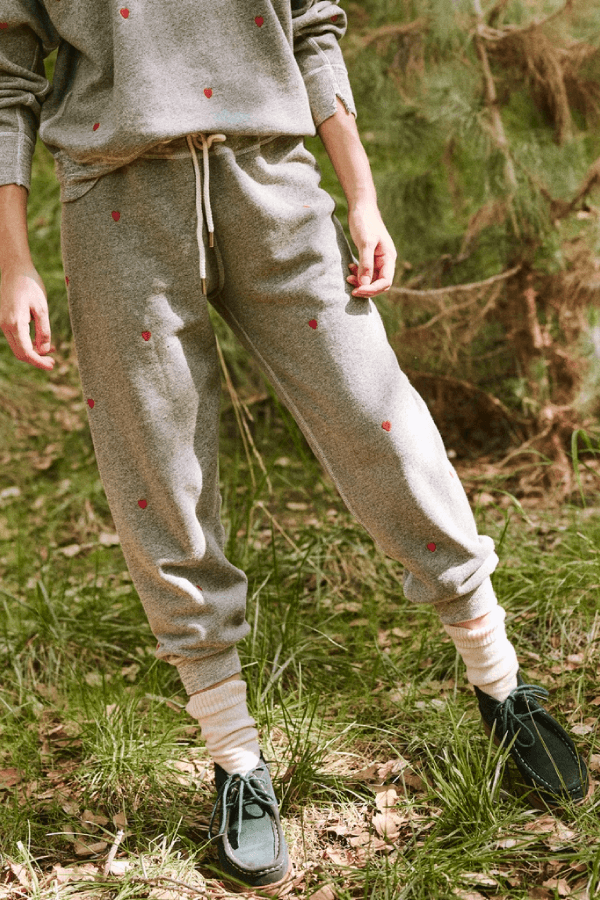 The Great The Cropped Sweatpant - Varsity Grey Heart Front