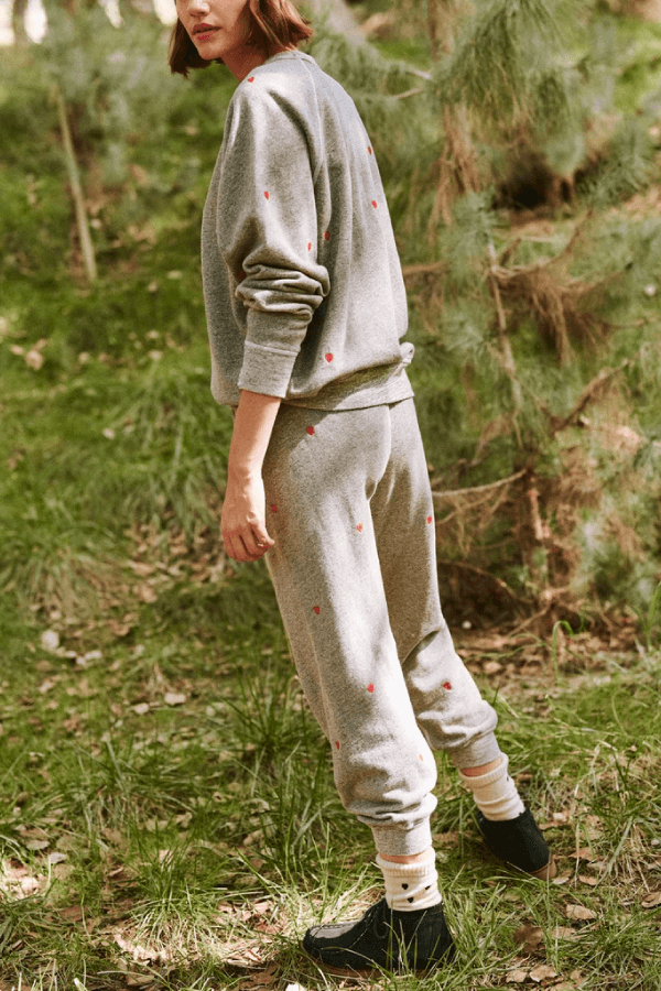 The Great The Cropped Sweatpant - Varsity Grey Heart