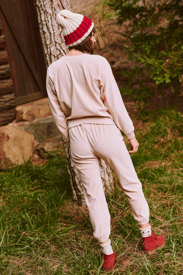 The Great The Velour Stadium Sweatpant - Carnation Back