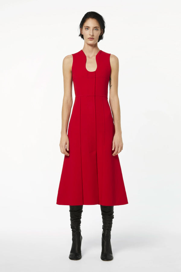 Victoria Beckham 1420WDR001959B Fit & Flare Cut Out Dress - Red Front