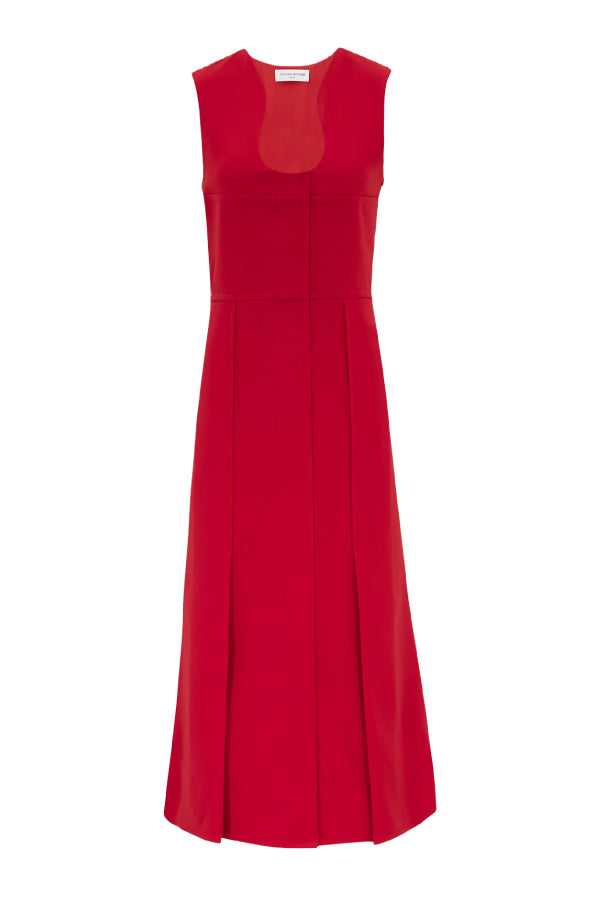 Victoria Beckham 1420WDR001959B Fit & Flare Cut Out Dress - Red