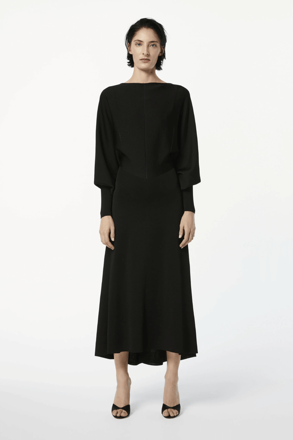 Victoria Beckham 1121KDR002367A Drape Sleeve Open Back Midi Dress - Black/ Navy Front