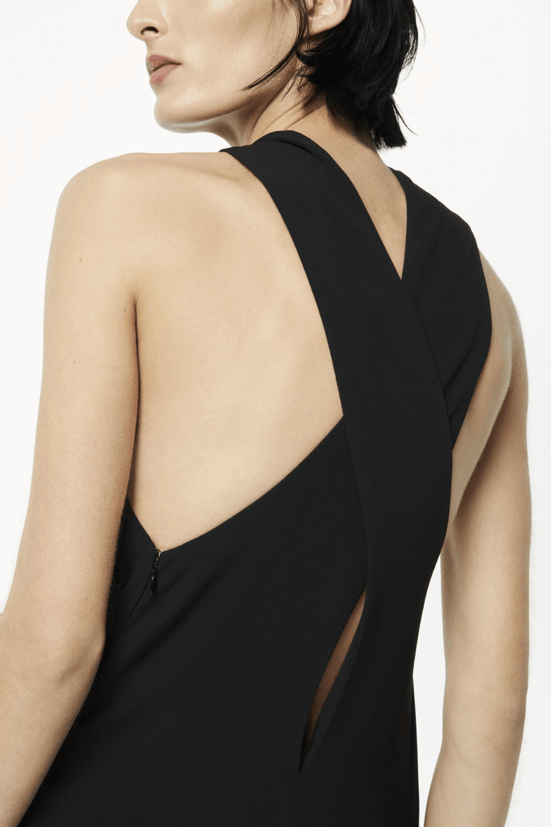 Victoria Beckham 1121WDR002328A Sleeveless Keyhole Midi Dress - Black Back Detail