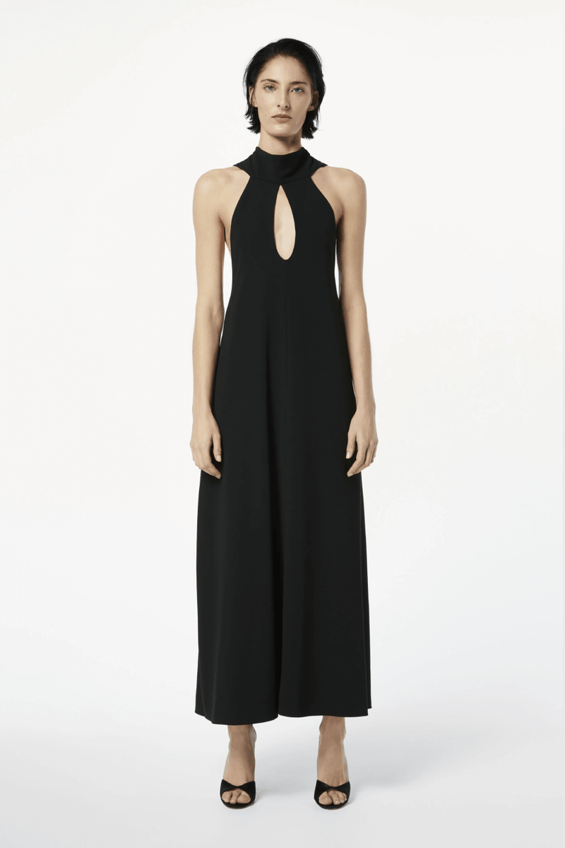 Victoria Beckham 1121WDR002328A Sleeveless Keyhole Midi Dress - Black Front