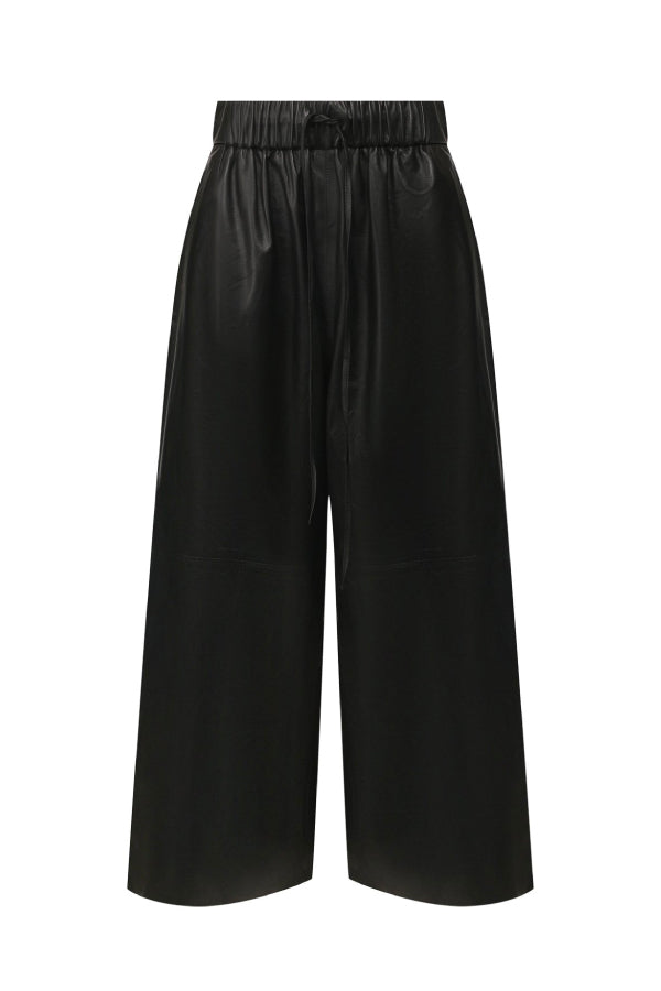 Yves Salomon 21W9EYP234XXAPXX Leather Culotte Pant - Black
