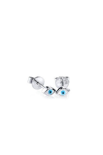 Sydney Evan White Gold Evil Eye Mini Enamel Studs
