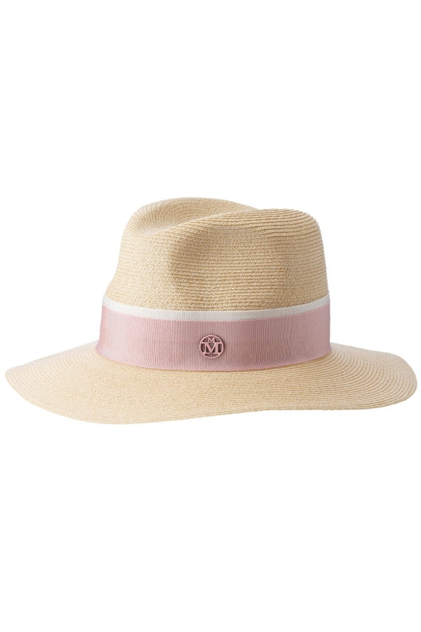 Maison Michel Timeless Henrietta Straw Hat - Natural/ Pink (3796404273205)