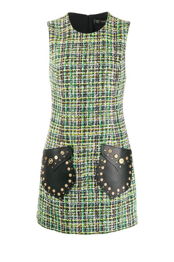 Versace Studded Leather Tweed Dress - Green (4626038227079)