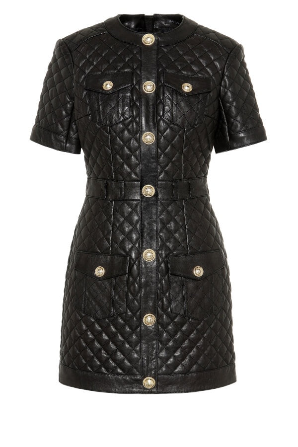 Balmain Quilted Leather Dress - Noir - Last One (3774852923445)