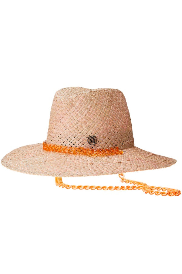 Maison Michel Kate Chain Straw Hat - Pink