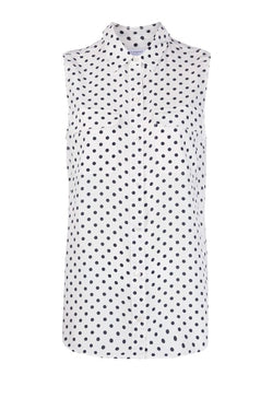 Equipment Sleeveless Slim Signature Polka Dot Shirt - Nature White/ Eclipse - Last One (4650318725255)