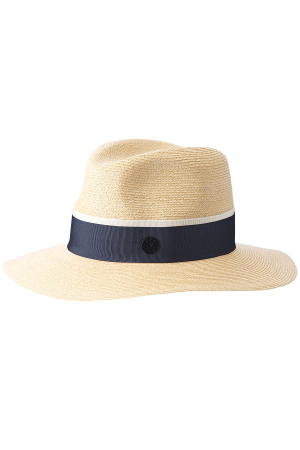 Maison Michel Timeless Henrietta Straw Hat - Natural/ Navy (1342994350133)