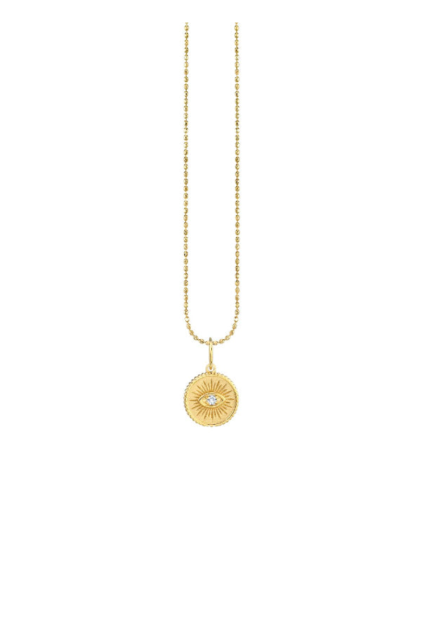 Sydney Evan Small Marquis Eye Coin Necklace Yellow Gold (4958996004999)