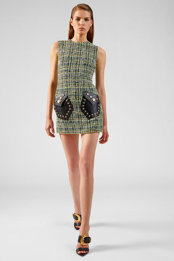 Versace Studded Leather Tweed Dress - Green