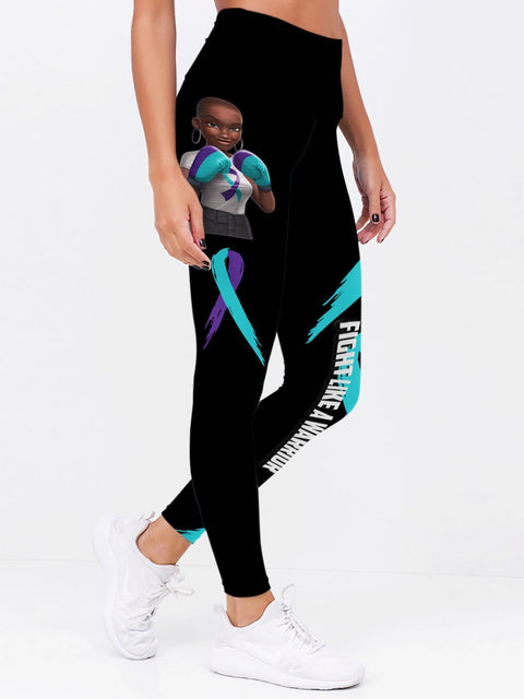 Teal and Purple Melanin Fight Like A Warrior™ Suicide Awareness Premium Leggings