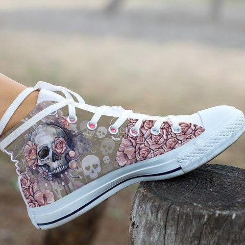 3D Floral Skull High Top Canvas Shoes