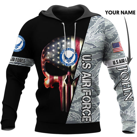 Personalized US Airforce Skull US Unisex Size Hoodie
