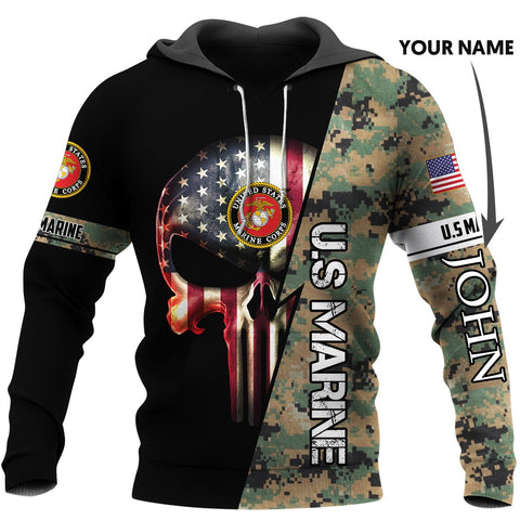 Personalized US Armed Force Skull US Unisex Size Hoodie