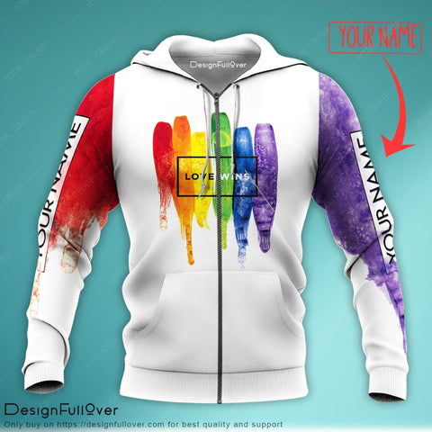 Personalized Love Wins 2 LGBT Unisex Zip up Hoodie
