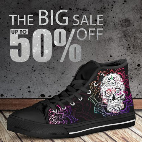 3D Sugar Skull High Top Canvas Shoes