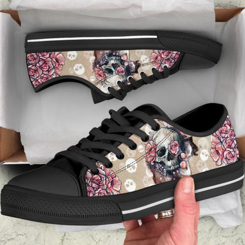3D Floral Skull Low Top Canvas Shoes