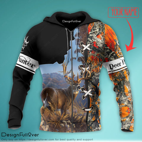 Personalized Deer Hunting Modern 3 Unisex Zip up Hoodie