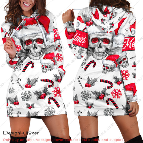 Personalized Skull in Santa Hat 3D Hoodie Dress