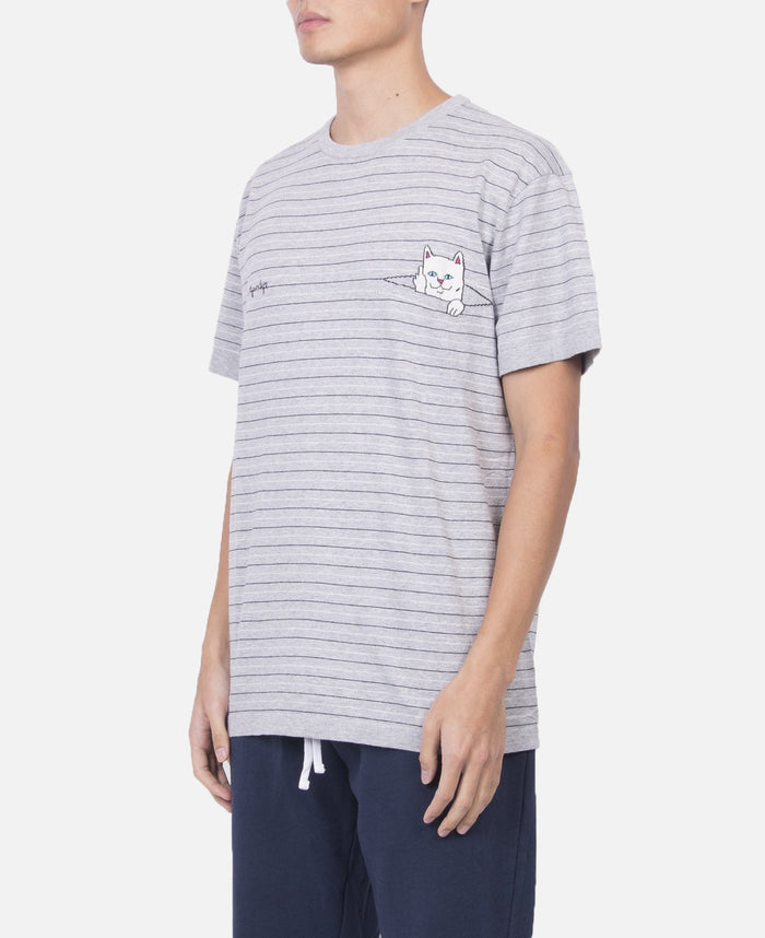 Peeking Nermal Jcquard Knit T-Shirt (Grey)