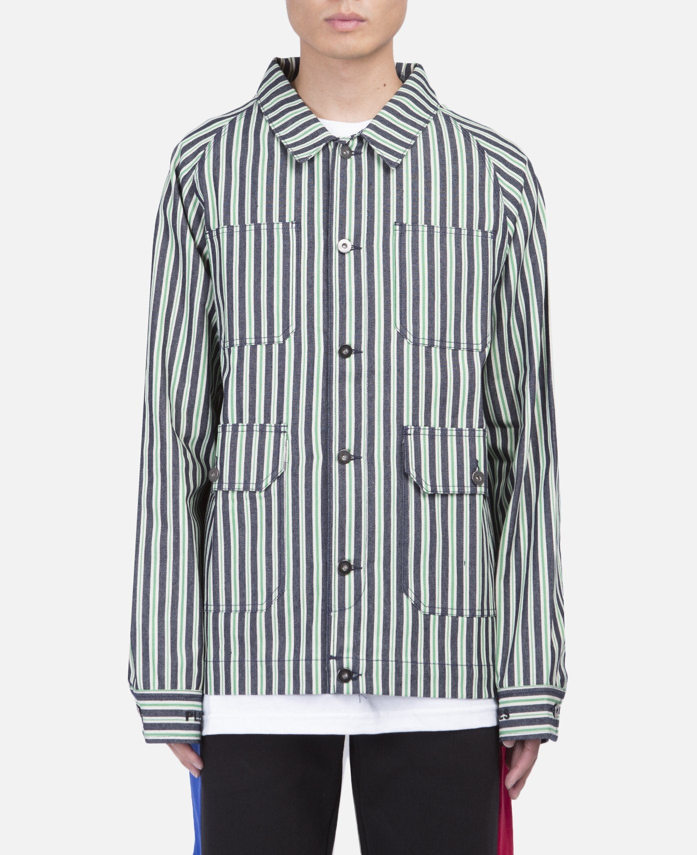 Striped Denim Utility Jacket (Green)