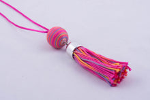 Colorful yarn necklace with tassel