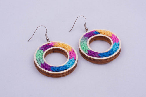 Yarn circle earrings - color options