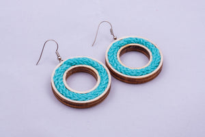 Yarn circle earrings