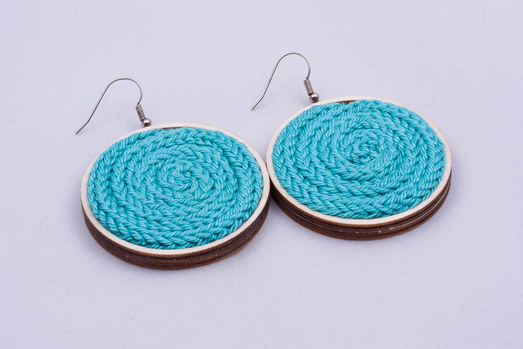 Yarn disc earrings - multiple sizes, color options