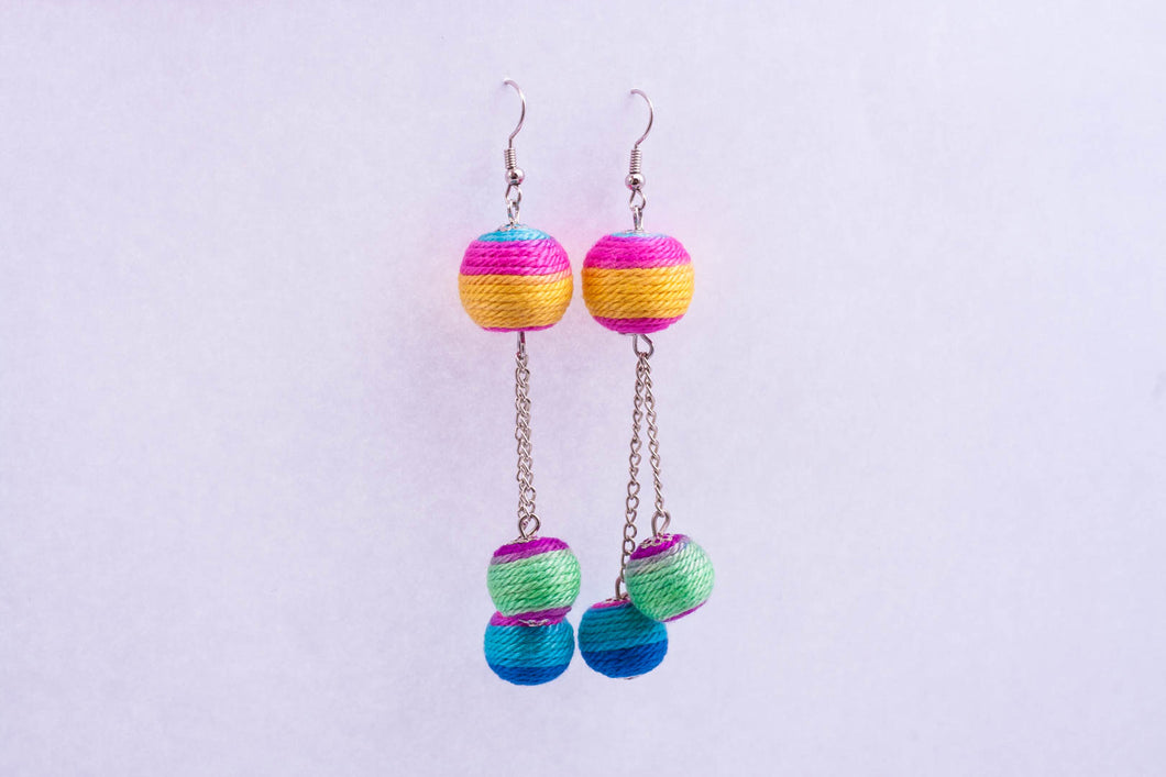 Yarn triple-berry earrings