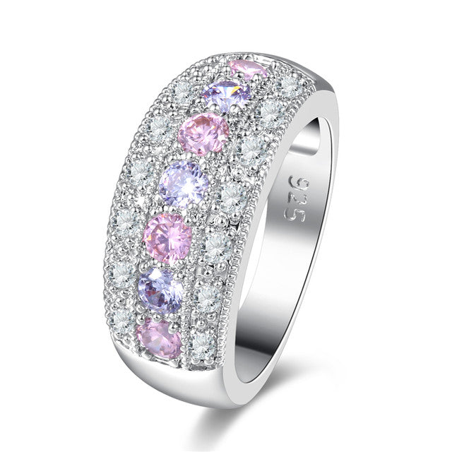 Rose Pink Purple White Crystal Fashion Stone jewelry Rings For Women - ShoppingDailyDeals