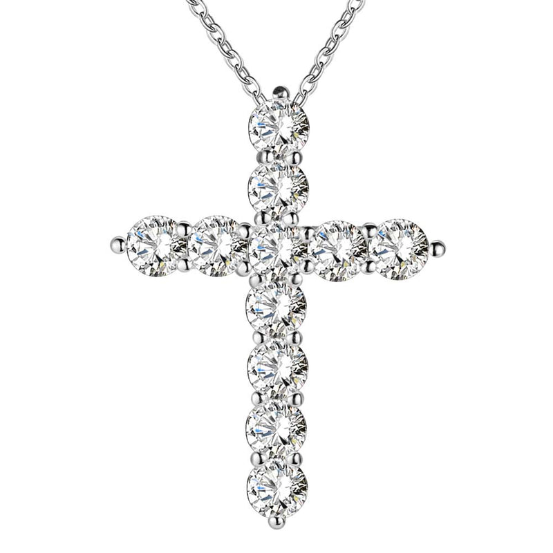 silver plated necklace women Cross crystal stone pendant - ShoppingDailyDeals