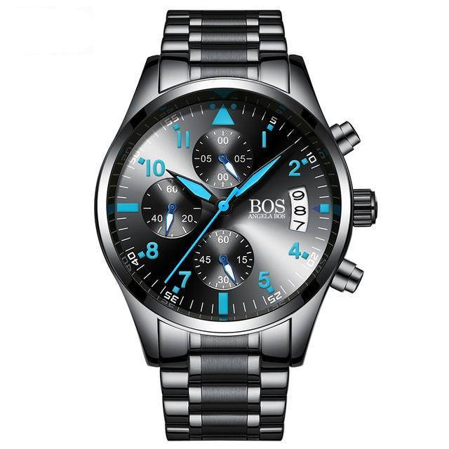 Men Chronograph Timer Fashion Stainless Steel Luxury Watches - ShoppingDailyDeals