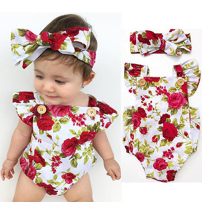 2pc Set Newborn Baby Girls Summer Floral Rompers +headband Flower Outfit - ShoppingDailyDeals