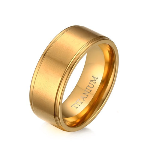 100% Titanium Ring for Men 8MM Wedding Rings Jewelry with Matte US Size Gold-color - ShoppingDailyDeals