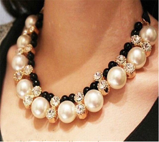 Lace Chain Choker Necklace Hi-end big imitation pearl necklace for Women - ShoppingDailyDeals