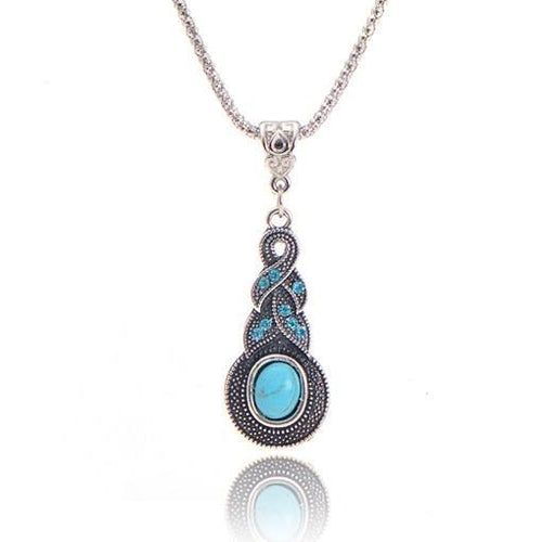 Woman Round Charming Blue Stone Infinity Pendant Necklace Jewelry - ShoppingDailyDeals