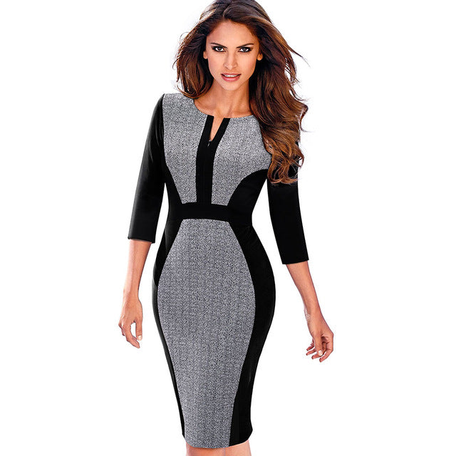 Retro Contrast Patchwork Wear to Work Business Office Female Dress - ShoppingDailyDeals