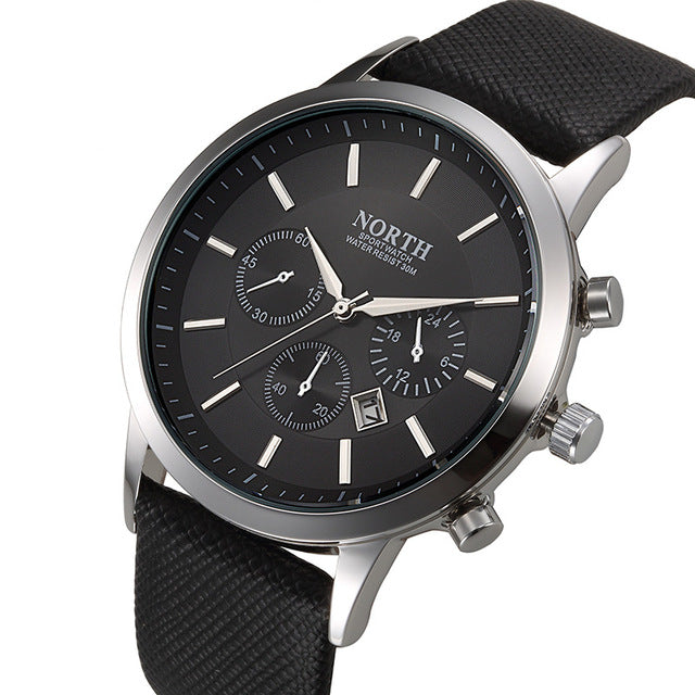 Mens Watches NORTH Brand Luxury Casual Military Quartz Sports Wristwatch Leather Strap Male watch - ShoppingDailyDeals