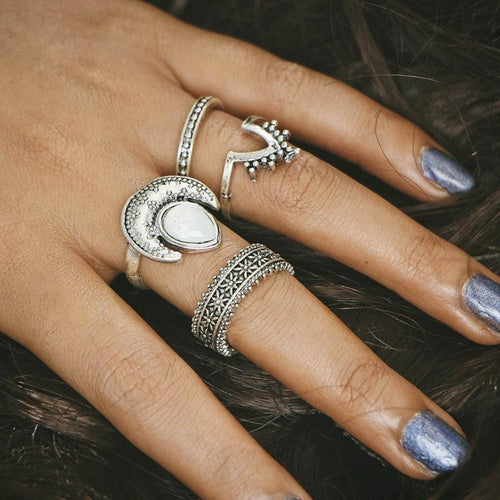 beautiful accessories women Special design 4pcs/Set Women Bohemian Vintage Silver Stack Rings Above Knuckle Blue Rings - ShoppingDailyDeals