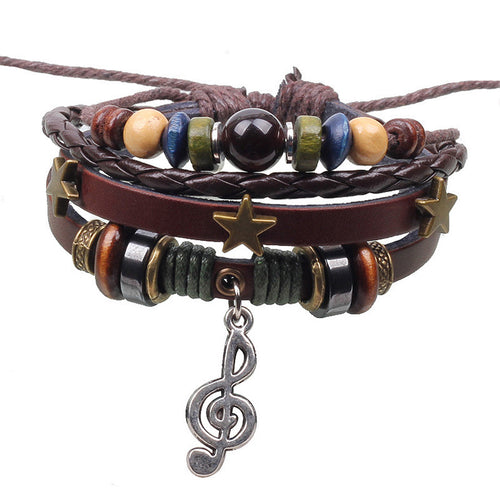 Three Stars Musical Note Pendant Knit Bracelet - ShoppingDailyDeals