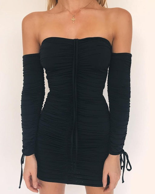 Sexy Off Shoulder Long Sleeve Body  Dresses - ShoppingDailyDeals
